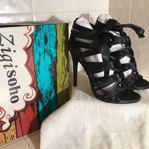 ZIGI SOHO black strappy satin high heels-NEW